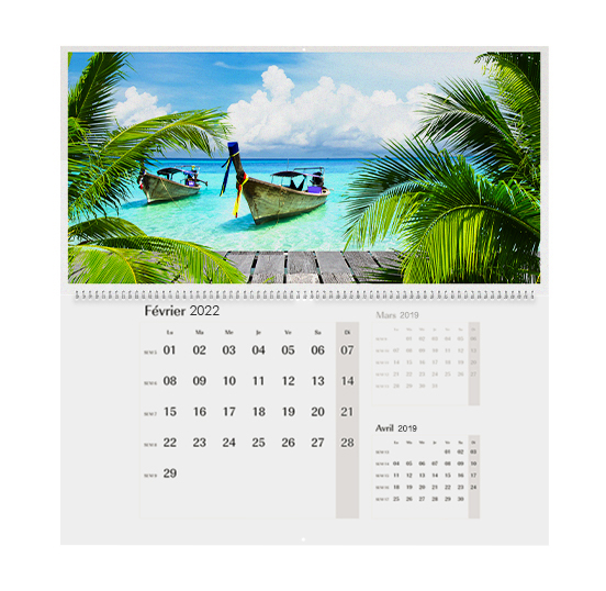 Calendrier photo A2 trimestriel double-page