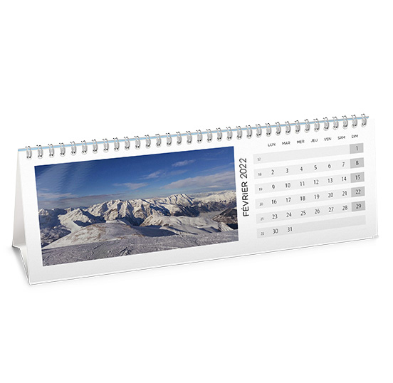 Calendrier photo de bureau chevalet paysage