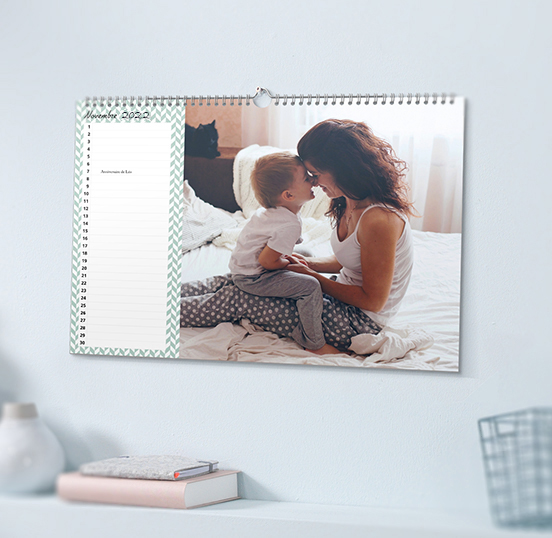 calendrier photo mural format a3 personnalis avec vos. Black Bedroom Furniture Sets. Home Design Ideas
